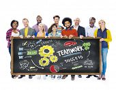 stock photo of collaboration  - Teamwork Team Together Collaboration Education Learning Students Concept - JPG