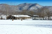 stock photo of gatlinburg  - barn in snowy mountains in rural Gatlinburg - JPG