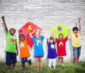 Children Friends Kite Colourful Kids Smiling Concept