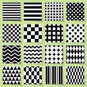 Black and white geometrical seamless patterns set on light green background