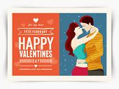 Beautiful greeting card design with young couple in love for 14 February, Happy Valentines Day celebration.