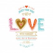 Beautiful greeting card design with colorful text Love for 14 February, Happy Valentines Day celebration.