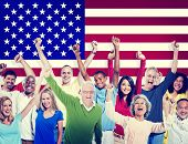 Multi-Ethnic Group Of People Friendship Team America Concept