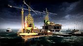 picture of rig  - Oil rig  platform at night - JPG
