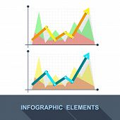 Vector Flat Business Graph And Chart On Grey Background.