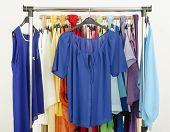 stock photo of wardrobe  - Wardrobe with colorful summer clothes and accessories - JPG