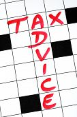 stock photo of cpa  - Write the words Tax Advice in the crossword puzzle - JPG