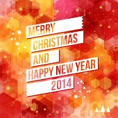 stock photo of happy new year 2014  - Merry Christmas and Happy New Year 2014 card - JPG