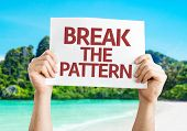 Break the Pattern card with a beach on background
