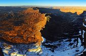 Panoramic View Of The Sunset At Anticline Overlook In Utah During Winter