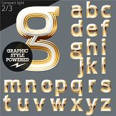 Vector alphabet of beveled golden letters. Compact light. File contains graphic styles available in Illustrator. Set 2