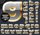 Gray alphabet with golden border. Extended. File contains graphic styles available in Illustrator. Set 2