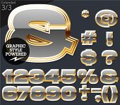 Gray alphabet with golden border. Extended. File contains graphic styles available in Illustrator. Set 3