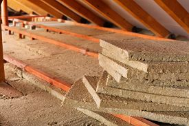 picture of thermal  - Mineral wool stack on construction site  - JPG