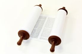 stock photo of scroll  - a Torah scroll in front of white background - JPG