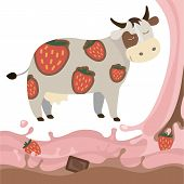 stock photo of milk products  - Berry Fruit Milk Cow Splash vector illustration cartoon Dairy products with strawberries and chocolate Elements isolated on a white background - JPG