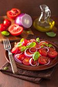 pic of vinegar  - healthy tomato salad with onion basil olive oil and balsamic vinegar - JPG
