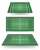 picture of deuce  - Set of green tennis courts with perspective - JPG