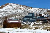 image of sagebrush  - Church and mill amongst sagebrush and snow taken in the desolate historic mining town Bodie - JPG