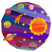 image of earth mars jupiter saturn uranus  - collection of vector images of planets in the solar system papercut style - JPG