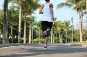 stock photo of jogger  - fitness jogger legs running at tropical park - JPG