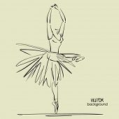 picture of tutu  - art sketched beautiful young ballerina with long tutu in pose of dance with raised her hands - JPG