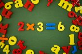 picture of math  - Math example of plastic magnetic numbers and words - JPG