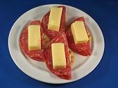 Swiss Cheese And Sopressata On Crackers