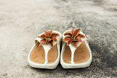 foto of semen  - brown flower on shoes on floor soft focus photo stock - JPG