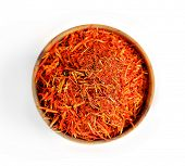 stock photo of saffron  - Saffron in wooden bowl - JPG