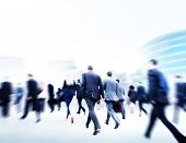stock photo of hustle  - Business People Walking Commuter Travel Motion City Concept - JPG