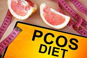 picture of ovulation  - Tablet with PCOS diet. Weight loss concept. ** Note: Soft Focus at 100%, best at smaller sizes - JPG