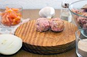 stock photo of meatball  - cooking meatballs and the ingredients required to do them - JPG