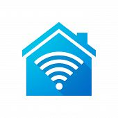 pic of blue things  - Illustration of a blue house icon with a radio signal - JPG