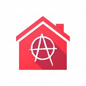 stock photo of anarchists  - Illustration of a house icon with an anarchy sign - JPG