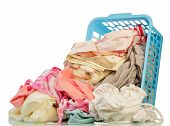 stock photo of dirty-laundry  - Dirty Clothes in basket on white background - JPG