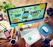 stock photo of charity relief work  - Charity Donate Help Give Saving Sharing Support Volunteer Concept - JPG