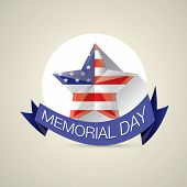 stock photo of memorial  - Memorial Day with star in national flag colors - JPG