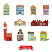 foto of old post office  - Old Village Buildings Vector Set - JPG