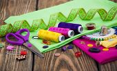 stock photo of sewing  - Set of different sewing accessories  - JPG