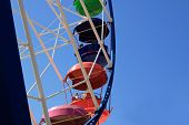 picture of amusement park rides  - ride a Ferris wheel at an amusement park against the blue sky - JPG