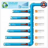 pic of pipeline  - Water Pipeline Ecology And Environment Business Infographic Vector Design Template - JPG