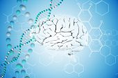 picture of helix  - brain against dna helix in blue with chemical structures - JPG