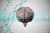 image of helix  - brain against dna helix in blue with chemical structures - JPG
