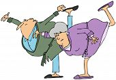 stock photo of pajamas  - This illustration depicts an elderly man and woman in pajamas and bathrobes bending over and balancing on one leg - JPG
