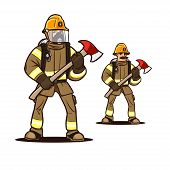 image of firefighter  - firefighter in mask standing with the firefighter axe - JPG