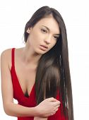 picture of chest hair  - Gorgeous woman with long brunette hair wearing a sexy red dress - JPG