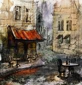 pic of french culture  - French  outdoor european cafe painting - JPG