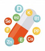 stock photo of b12  - nutrition supplements design - JPG
