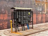 pic of shipyard  - Electrical equipment at a switching board in shipyard - JPG